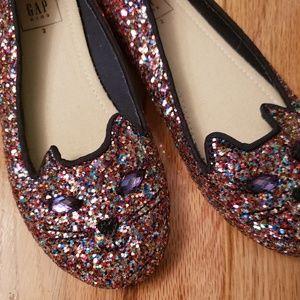 NWOT Gap Glitter Kitty Slippers